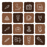 Set of doodle web, computer and drawing icons. Royalty Free Stock Image