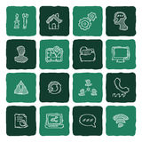 Set of doodle web, computer and drawing icons. Stock Photos