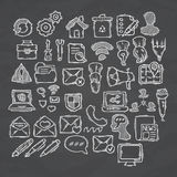 Set of doodle web, computer and drawing icons. Stock Photography