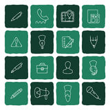 Set of doodle web, computer and drawing icons. Royalty Free Stock Images