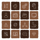 Set of doodle web, computer and drawing icons. Royalty Free Stock Photography