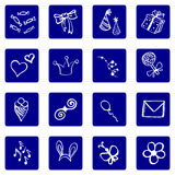 Set of doodle white on blue background icons, congratulations theme Stock Image