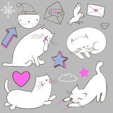 Set with doodle white cat. With the elements Royalty Free Stock Image