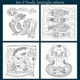 Set Doodle wzór dla barwić Zdjęcie Royalty Free