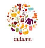 Set of  doodles Autumn symbols. Stock Image
