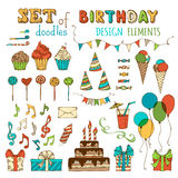 Set of doodles birthday design elements. Stock Photography