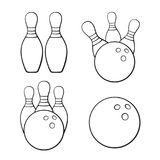 Set of doodles of bowling balls and bawling pins stock illustration