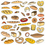 Set of doodles bread Royalty Free Stock Photos