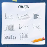 Set of doodles charts with yellow pencil. Hand drawn objects Royalty Free Stock Images