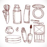 Set of doodles on cosmetics  cream,eye shadow, face powder Royalty Free Stock Photography