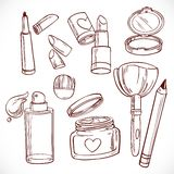 Set of doodles on cosmetics  cream, face powder, lipstick Royalty Free Stock Images