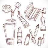 Set of doodles on cosmetics  lipstick,nail polish, eye contour ... Stock Photography