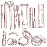 Set of doodles on cosmetics theme Royalty Free Stock Image