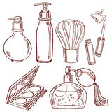 Set of doodles on cosmetics theme Stock Photography