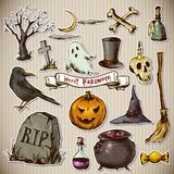 Set of Doodles Design Halloween Elements Royalty Free Stock Photography
