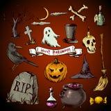 Set of Doodles Design Halloween Elements Stock Images