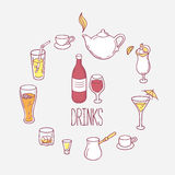 Set of doodles drinks in vector.  Stock Images