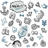 Set of Doodles - Elements and Objects Black and Blue Stock Photo