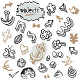 Set of Doodles - Elements and Objects Black and Brown Royalty Free Stock Images