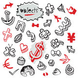 Set of Doodles - Elements and Objects Black and Red Royalty Free Stock Image