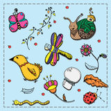 Set of doodles flora, insects and birds Royalty Free Stock Images