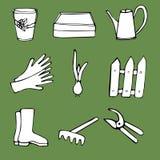 Set of doodles on gardening theme Royalty Free Stock Photo