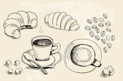 Set of doodles, hand drawn rough simple coffee theme sketches, v Stock Images
