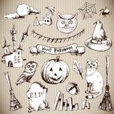 Set Doodles projekta Halloween elementy royalty ilustracja