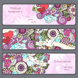 Set with doodles science, medicine and flowers. Medical Background. Stock Image