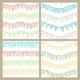 Set of doodles seamless patterns of garlands. Boundless pattern can be used for web page backgrounds, wallpapers, wrapping papers, invitation, congratulations Royalty Free Stock Photos