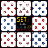 Set of doodles seamless patterns of road signs. Stock Photos