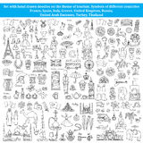 Set of doodles on the theme of countries of Europe, Asia Royalty Free Stock Images
