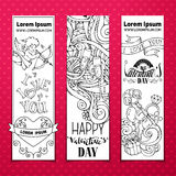 Set of doodles Valentine's banners. Stock Photography