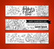 Set of doodles Valentine's banners. Stock Photos