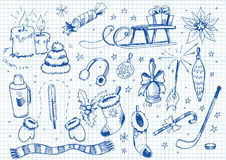 Set of doodles. winter Royalty Free Stock Image