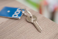Set of door keys on a blurred background Royalty Free Stock Photos
