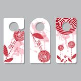 Set doorhangers. Background picture, pattern of doodles. Place for your text. Creative concept by hand maid. Design of stock illustration