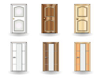 Set of doors on a white background Stock Photos