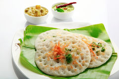 Set dosa with curry and chutney. Royalty Free Stock Photo
