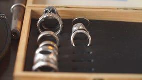 Set doskonalić handmade pierścionków łańcuchy na stole i kolczyki zbiory wideo