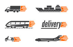 Set dostawa transportu ikony Obraz Stock