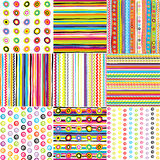 Set of doted and striped backgrounds for kids. Set of doted and striped backgrounds for children Royalty Free Stock Photos