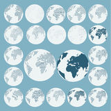 Set of dots and line globe in different resolution isolate on background, vector & illustration Stock Image