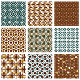 Set of dotted seamless patterns with rings, brown polka dot tile Stock Image