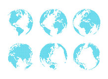Set of dotted style globe and map Stock Photo