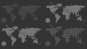 Set of dotted world maps Royalty Free Stock Photos