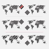 Set of dotted world maps in different resolution Stock Image