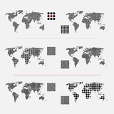 Set of dotted world maps in different resolution. Set of dotted world maps. Vector illustration Royalty Free Stock Photos