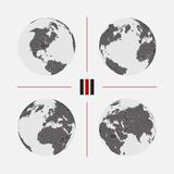 Set of dotted world maps in different resolution. Set of dotted world maps. Vector illustration Stock Images