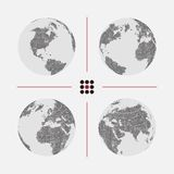 Set of dotted world maps in different resolution. Set of dotted world maps. Vector illustration Royalty Free Stock Photography